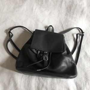 Vintage Coach Black Leather Backpack Purse